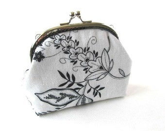 Metal purse frame, black and white fabric, black flowers on white cotton, silver kiss lock bag, clasp pouch, frame clutch bag, makeup bag