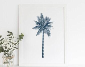 Blue Coastal Art, Palm Tree Print, Digital Print, Printable Prints, Navy Blue Print, Printable Artwork, Beach Prints, Modern Beach Decor