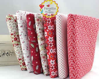 7 x fabric coupons with polka dots flower star patchwork cotton 100% series 50x50cm red black geometry