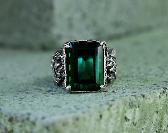 Dragon Mens Sterling Silver Gemstone Ring with Green Quartz MADE TO ORDER, mens gemstone ring, mens jewelry