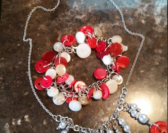 Vintage Red and Pearl Button Necklace and Bracelet
