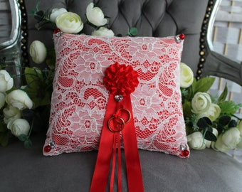 Wedding ring pillow, white lace-red wedding ring holder 23cm x 22cm