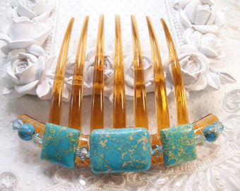 Turquoise Imperial Jasper and Swarovki crystal elements French Twist Large hair comb Fascinator