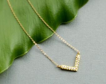 Dainty CZ V Necklace • Minimal V Necklace • Triangle Geometric Layering Necklace • 14k Gold Fill Chain by Infini168, I168-601M