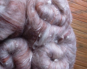 Hand Carded Batts, 110g total, spinning wool, felting, blufaced leicester, merino, tencel, textured, gingerbread