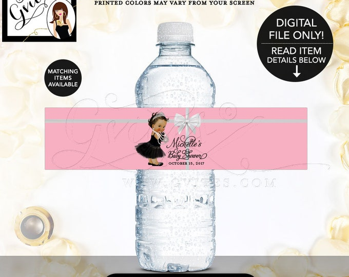 """Baby Shower Pink Water Labels, baby girl PRINTABLE bottle wrapper, Colors & TEXT breakfast bottle baby co. 8x2"""" 5/Per Sheet. Gvites"""