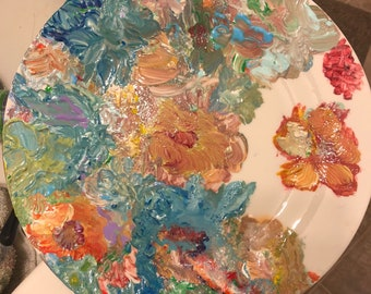 Painted Plate W/Floral Motif