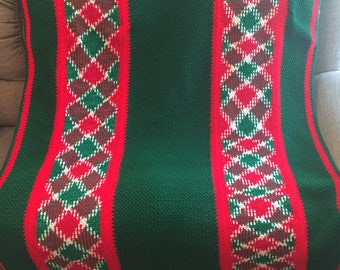 Red and Green hand crocheted Afghan