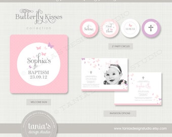 Butterfly Kisses Baptism Printable Party Package by tania's design studio