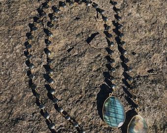 Labradorite and Pyrite Lariat