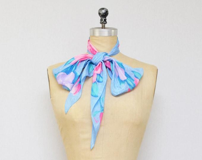 Vintage 1980s Blue Floral Vera Neumann Silk Scarf