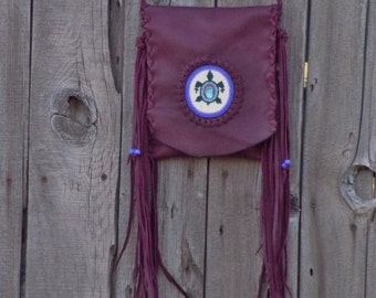 Burgundy fringed leather handbag , Journal bag  , Crossbody bag ,  Phone bag  ,  Powwow bag , Shamans bag