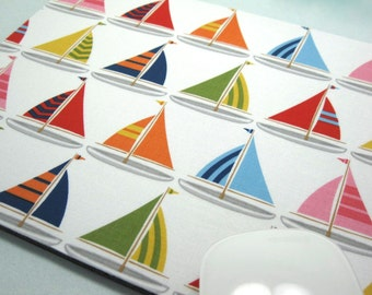 Buy 2 FREE SHIPPING Special!!   Mouse Pad, Computer Mouse Pad, Fabric Mousepad         Sailboats on White