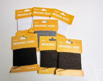 Vintage Mending Yarn, Dean Mending Yarn, Wool Yarn, Cotton Yarn, White, gray, brown, Sewing supplies, on cards, unused