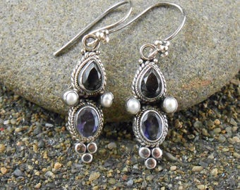 Iolite Pearl Earrings, Sterling Vintage, Midnight Blue Translucent Pear Cut Iolite,  Round White Pearls,  Gift For Her
