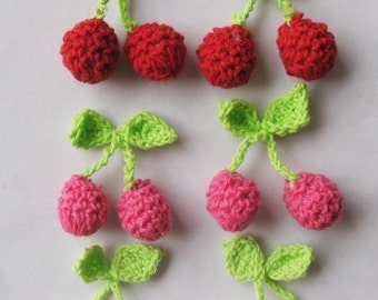 15 Crochet Cherry Appliques Sewing Craft EA135