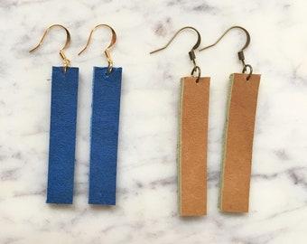 Leather Bar Earrings