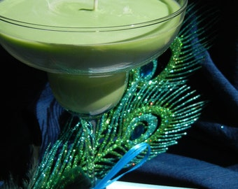 margarita scented soy candle in margarita glass green