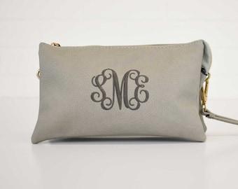 Monogrammed Crossbody Clutch | Monogram Clutch | Vegan Leather | Crossbody Bag | Wristlet Wallet | Birthday Gift | Bridesmaid Gift | Monroe