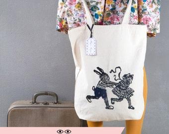 TOTE BAG coquin et customisé/ Sac idée cadeau originale/ Sac de courses/ Sac chat/ sac lapin/ Lapin et chat/ customisé/ sac illustration art