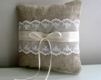 Ring Pillow, Rustic Brown Pillow, Lace Ring Pillow, Country Weddings, Ring Bearer Pillow, Ring, Wedding Pillow, Rustic Lace, Rustic Wedding
