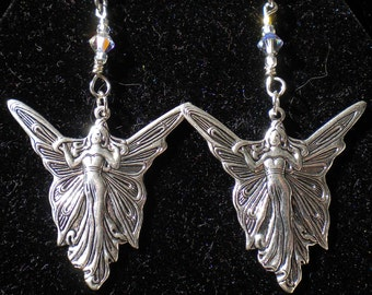 Fairy Pendant Earrings Art Deco w Clear Swarov Crystals