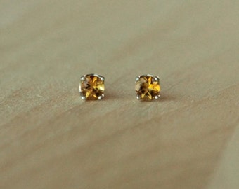 4mm Citrine Argentium Silver Earrings - Nickel Free Hypoallergenic Stud Earrings