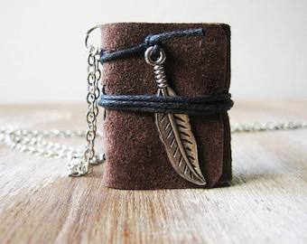 Book necklace jewelry for women miniature leather journal jewelry for women gift for her daughter best friend sister teacher girlfriend bff