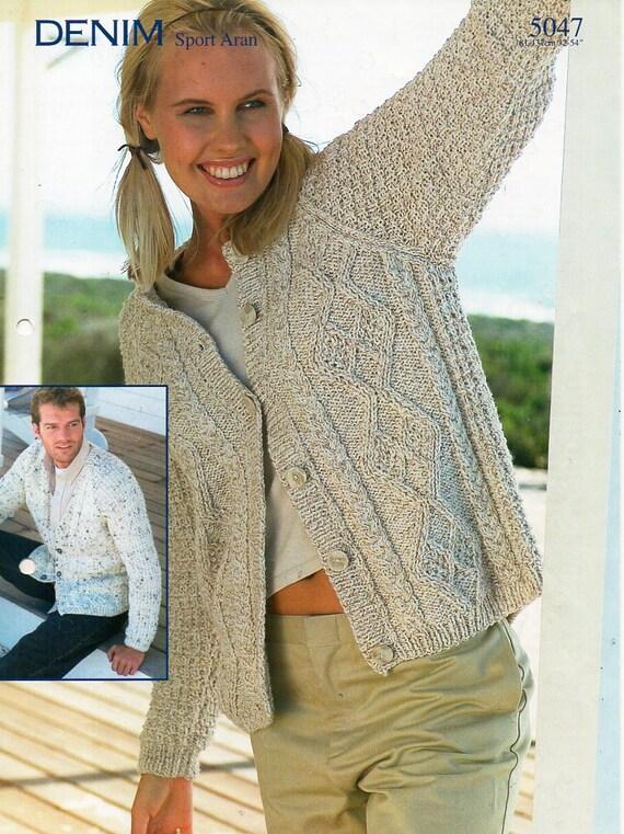 womens / mens aran cardigans knitting pattern PDF ladies cable