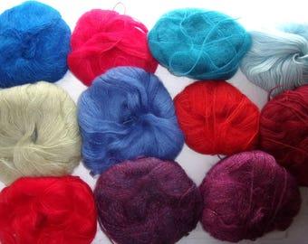 SET of 11 balls of fancy acrylic and angora wool