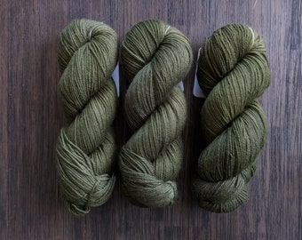 Hand Dyed Yarn - 'Laurel' - Griffin DK - Non-Superwash Bluefaced Leicester - green tonal - 280 yards