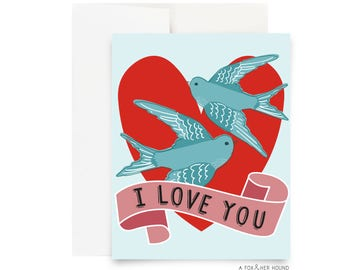 Blue Love Birds Valentines Day Card A Fox and Her Hound Valentine I Love You Greeting Card Blank Red Heart Song Birds Just Because Holiday