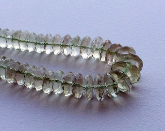 Green Amethyst German Cut Beads, Amethyst Disc Beads, Green Gemstone Beads, Green Amethyst Necklace, 8mm To 10.5mm, 8 Inch Strand