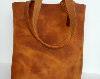 Brown Leather Tote Bag - Brown  Leather  -  Brown Leather Bag- Leather Tote- leather tote,Distressed leather tote,