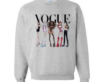 Spice Girls geïnspireerd Vogue grafische Sweatshirt grijs