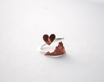 Virginia Twist Place Ring (Sterling Silver & Copper Place State Love Map Ring)