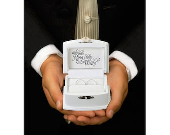 WEDDING RING box ring bearer box pillow page boy best man commitment ceremony black and white the rings with this ring I thee wed