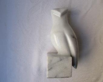 Marble Owl minimalist design 1970s decor perched bird White  paperweight