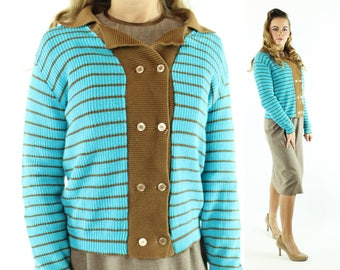 Vintage 50s Catalina Sweater Turquoise Brown Striped Collared Button Up Cardigan 1950s Medium M Pinup Rockabilly Preppy