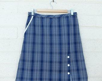 Vintage Nautical Skirt A line Navy Blue White Plaid Print Striped Mod Mid Century Buttons Pocket Shorts M L Medium Large