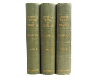 The Centennial History of Arkansas - vintage three volume set from 1922 - Free US Shipping
