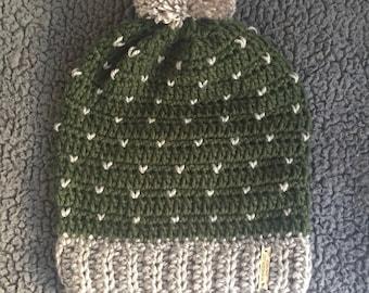 Hand Crochet Slouchy Pom Pom Hat, Slouchy Beanie w/ Pom Pom, Slouchy Crochet Hat, Crocheted Beanie Pom, Falling Hearts Beanie