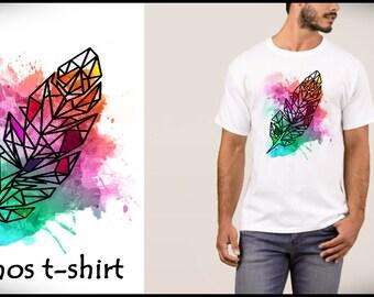 T SHIRT UOMO MAN - Feather - size s m l xl  -  by cosmostshirt designer