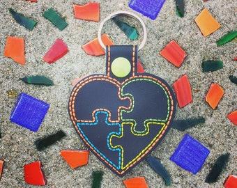 Autism Awareness Keychain, Key Fob, Zipper Pull