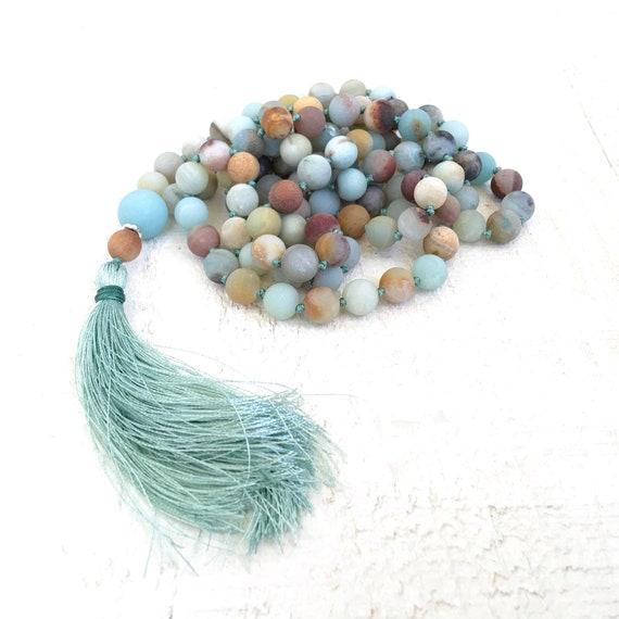 Confidence Building Mala, Amazonite Mala Necklace, Stone Yoga Meditation Beads, 108 Bead Meditation Mala, Yoga Jewelry, Mantra Beads