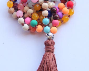 Knotted Long 108 Rainbow Beads Mala Tasselled necklace-Yoga-Gift for Mum-Meditation Bead