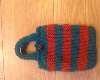 Cute hand knitted copper and green mini handbag
