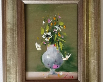 Gift Original Flower Bouquet Framed Painting Oil on Canvas Still Life Classical Art New House Artwork Flowers Plant Lovers Home Wild Flowers