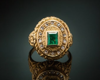 Genuine Art Deco rare natural emerald and diamond poison locket ring