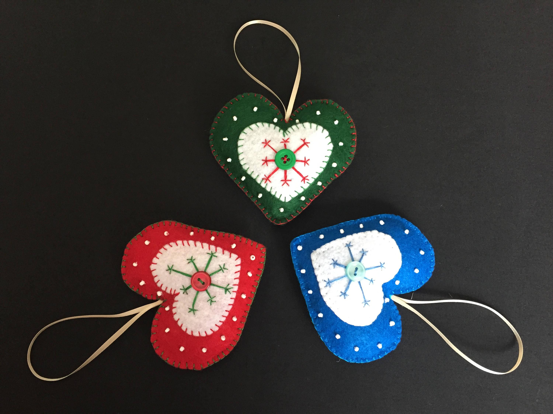 3pc Set Christmas Ornaments Heart Ornaments Christmas